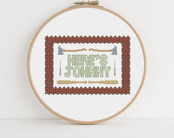 """The Shining """"Here's Johnny"""" Counted Cross Stitch Sampler Pattern: Digital Download"""