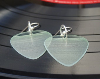 Clear Vinyl Record Earrings - Handmade Guitar Picks made from Vinyl Records - Fashion Gift for Rockers, Musicians - Hit Record Earrings
