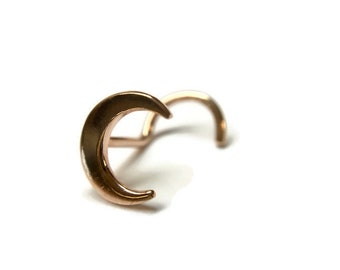 Rose Gold Crescent Moon Nose Stud ~ Moon Nostril Piercing ~ Lunar Nose Screw ~ Rose Gold Dipped Sterling Silver ~ Celestial Nose Jewelry