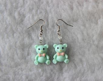 Mint Green Kawaii Teddy Bear Earrings