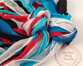 Hand Dyed Silk Ribbon - Silky Ribbon - Fairy Ribbon - Jewelry Supplies - Wrap Bracelet - Craft Supplies - Red White Blue Black Palette