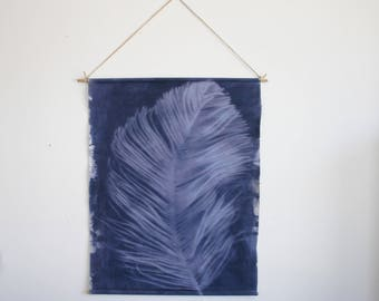 One of a Kind Hand Dyed Navy Norfolk Pine Sun print Wall Hanging