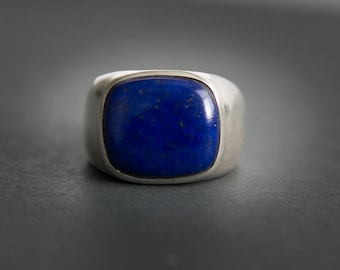 Lapis Ring - Large Lapis Lazuli Ring - size 10 - 12 - Mens Lapis Ring - Lapis Jewelry - Sterling Silver Lapis