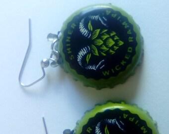 Wicked Ram Bottle Cap Earrings