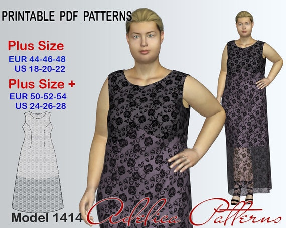 Plus size Lace Maxi Dress Pattern for sizes 18-28, Evening dress ...