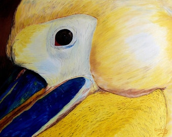 """Pelican Oil Painting, Bird Painting, Bird, Abstract, Close Up, Original Oil Painting - """"Pelican"""" (18"""" x 24"""" One of a Series)"""