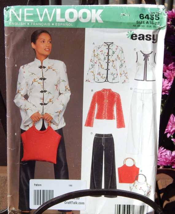 New Look Easy Sewing Pattern 6435 Asian style top pants and