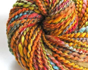 Handspun Yarn Super Bulky BFL Wool Rayon Boucle Yarn Hand Dyed Yarn Soft Art Yarn 146 yards Colorful Gold Copper Rainbow - Color Fiesta