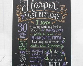 """First birthday chalkboard style custom ink drawing on 15""""x20"""" art board, the original Favorite Things Poster™"""