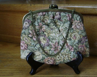 Vintage Tapestry handbag, Floral with Muted Colors, Goldtone Metal Kiss Lock and Chain Handle, Ecru Satin Lining, 1950s, REDUCED