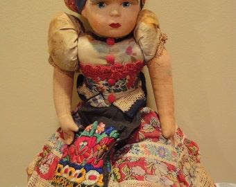 Antique Handmade Hungarian-Mezokoveszd Doll/Sewing/Textile/Handmade/1900's