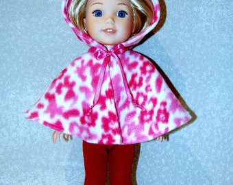"Hooded Poncho for 14.5"" Wellie Wishers or Melissa & Doug handmade Doll Clothes Fleece Pink print tkct1201 READY TO SHIP"