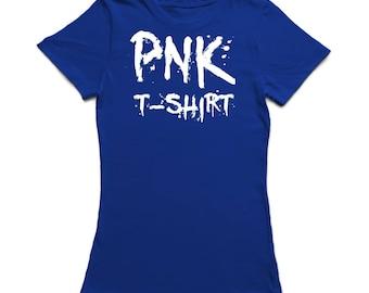 PNK T-SHIRT Medium Front Text  Women's Royal Blue T-shirt