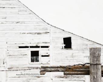 White Barn Art, Modern Farmhouse Decor, Neutral Wall Art, Rustic Home Decor, Barn Photography, Farm Art | 'Broken Fence'