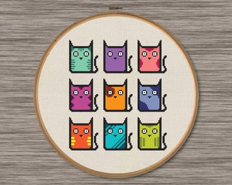 Nine Cats - PDF Cross Stitch Pattern