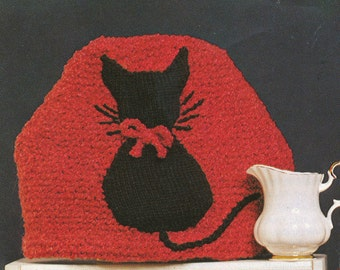 Vintage Knitted Kitty Cat Tea Cozy Pattern