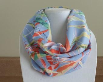 Blue leaf motif infinity scarf