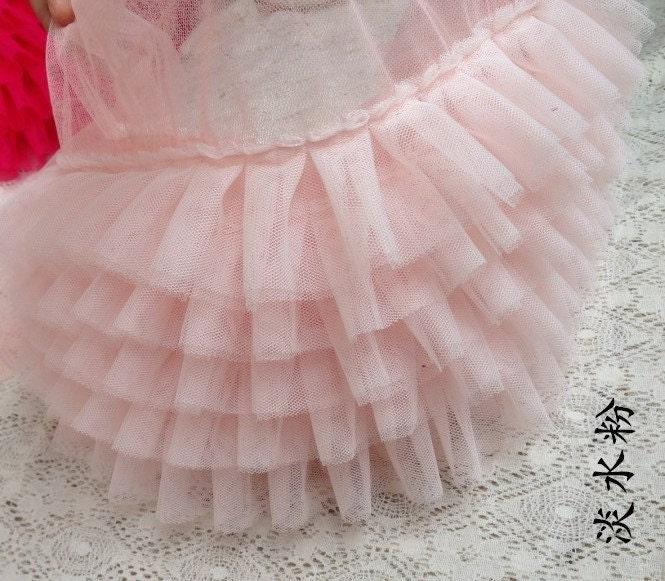 light pink ruffled tulle trim, ruffled lace trim, tutu dress fabric, ruffle  mesh lace, baby girl dress, prop dress