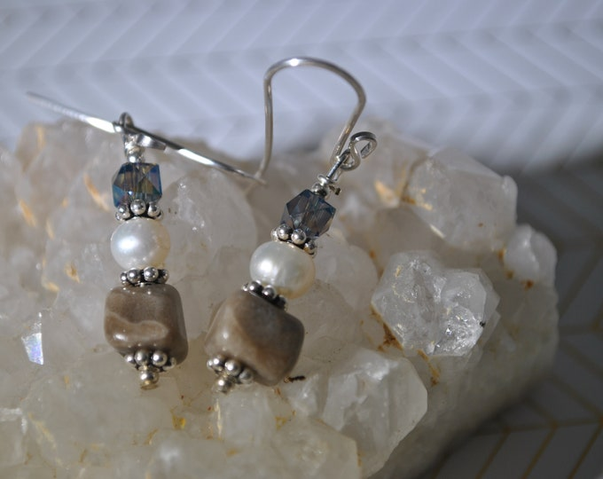 Petoskey stone earrings, Up North Michigan, Lake Michigan, sterling earrings