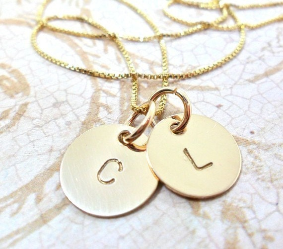 Gold Initial Necklace / Gold Monogram Necklace / Two Disc Necklace / Hand Stamped Initial Necklace / Simple Pendant Necklace / Engraved
