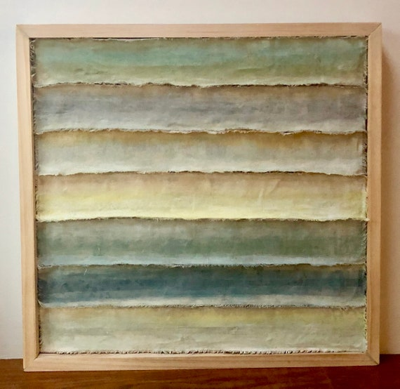 Waves: Painted and torn fabric