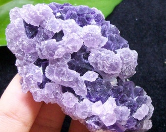 87g Great color - Pink Cubic Fluorite on Octahedron Purple Fluorite 2814 China