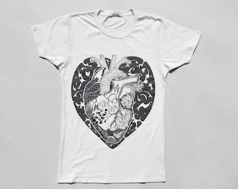 Heart T shirt for women, Valentines Day Heart shirt, Women's tshirts,  Anatomical, transplant heart, graphic tee, t shirt with heart print