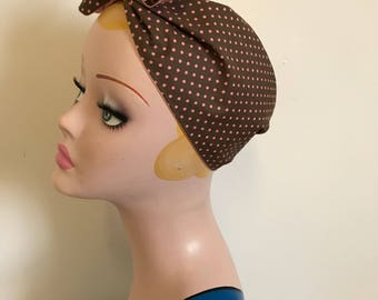 Cotton Bandana- Brown with pink dots, 1940s/50s cotton tie-up headscarf for easy vintage hair.