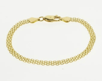 "14K Pressed Squared Mesh Link Chain Bracelet 6.75"" Yellow Gold"