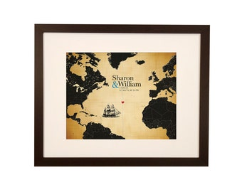 2nd Anniversary Cotton Gift | Married At Sea Atlantic Ocean Ship Map