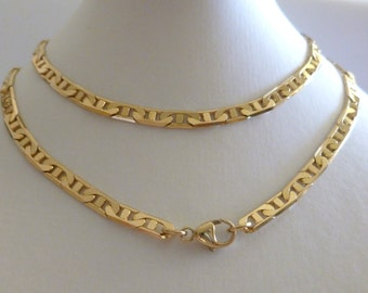 9ct Solid Yellow Gold Anchor Marine Flat Chain Necklace 50cm's 20 Inches N95, 9k 375, 10k, Gold Chain, Men Women, Free Gift Pouch