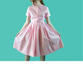 Vintage 50s Day Dress / Lillian Russe 50s Dress / Pink Cotton Gingham Check Shirtwaist Dress / Full Skirt Rockabilly Dress Vintage Dress S