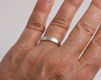 3mm Hammered Sterling Silver Ring