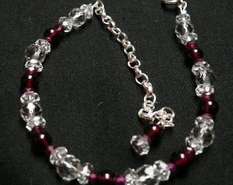 Ruby, Garnet and Clear Quartz Bracelet (Adjustable)