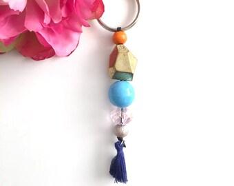beaded tassel keychain - bag charm keychain - women keychain - bohemian women's accessory - women's gift