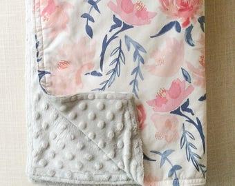 Watercolor Florals Baby Blanket  minky baby blanket, floral baby blanket, pink baby blanket, nursery blanket, baby shower gift