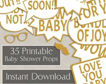 35 Baby Shower Printable speech bubbles, gold glitter, party props, new baby photo booth props, diy photobooth, gold props, S1E2 download
