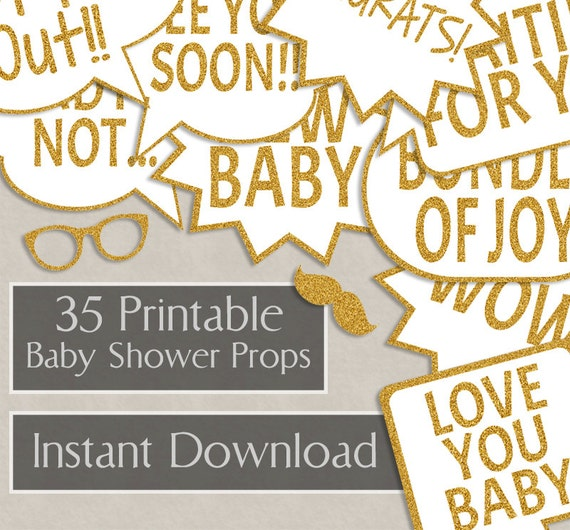 35 Baby Shower Printable Speech Bubbles Gold Glitter Party