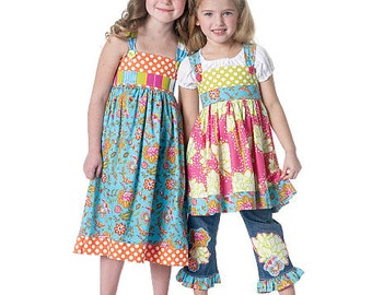 SUN DRESS Sewing Pattern Summer Sundress Peasant Top Blue Jeans Ruffle Chelsea Anderson