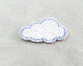 White Cloud Iron On Patch (S) -  Cloud cute Applique Embroidered Iron on Patch Size 3.7x2.3 cm