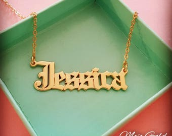 Women's Name Necklace/Women's Personalized Necklace/18K Gold Plated Name Necklace/Vintage Style Necklace/Gothic Necklace/Jessica Necklace