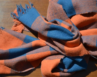 Blue Scarf, Orange Scarf, Wool Scarf, Angora, Warm Scarf, Soft Scarf, Checkered Scarf, Long Scarf, Hand Woven Scarf, Naturally Dyed, 349