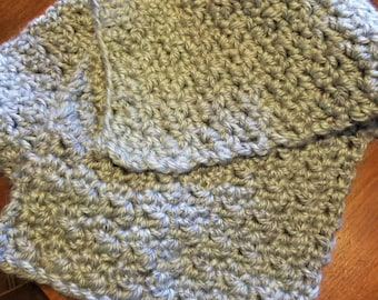 Handmade Crocheted Scarf in mint and gray.