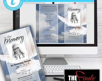 HEAVENLY DOVE ... (printable funeral program template) EDIT Directly in your Browser, No Software Needed, Quick and Easy to Edit