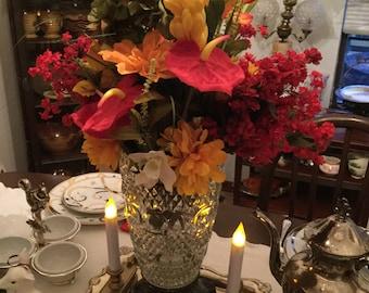 Multi Colored Floral/Greenery Arrangement in EAPG American Brilliant Cut Glass/Crystal Vase/Metal Base