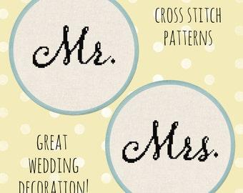 Mr. and Mrs. Cross Stitch Pattern, Cursive Wedding Script Cross Stitch Modern Simple Cross Stitch Pattern PDF File. Instant Download