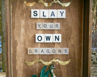 Repurposed Recycled Slay Your Own Dragons Mixed Media Assemblage Wall Art