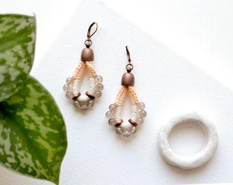 Drop Earrings, Bridal Earrings, Off White Earrings, Statement Earrings, Rope Earrings, Agate Earrings, Beaded Earrings, Crochet Earrings
