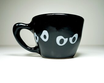 Jeepers Peepers! 12oz cup in blackest black glaze, made to order.