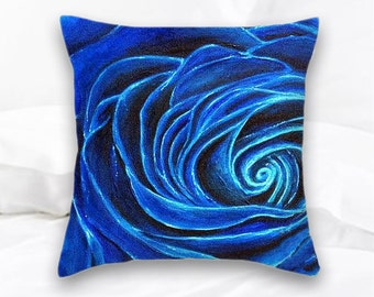 Blue Rose Throw Pillow | Rose Home Decor | Floral Decorative Pillow | Royal Blue Rose | Blue Roses Pillow | Flowers | Floral Throw Pillow